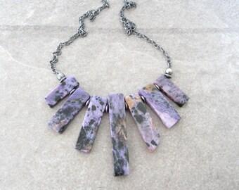 charoite necklace, purple stone necklace, oxidized silver, sterling chain, purple stick necklace, boho necklace