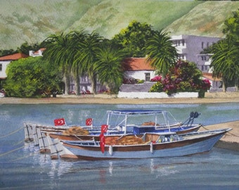 Original Watercolour Painting of Fishing Boats at rest in Datca Turkey