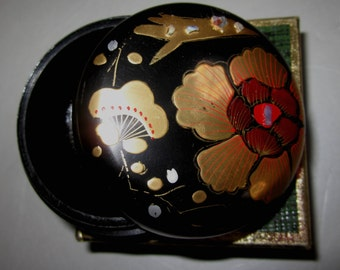Vintage Pill Box in Black with Flowers with Plane by Sarsaparilla ~ Style # 4 Black