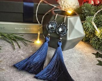 Long Blue Tassel earrings with Blue Swarovski crystal!