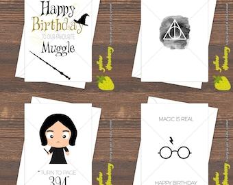 Harry Potter Birthday Greetings Christmas Card Hogwarts Muggle Magic House Deathly Hallows