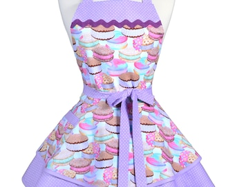 Ruffled Retro Apron - Ice Cream Cakes Sweet Treats Kitchen Apron - Womens Sexy Cute Pinup Apron with Pocket