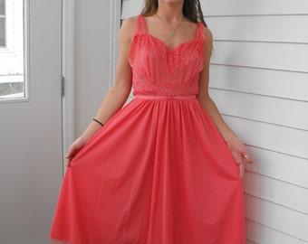 Vanity Fair Peignoir 60s Lingerie Chiffon Pink Coral Lace Vintage 38 M