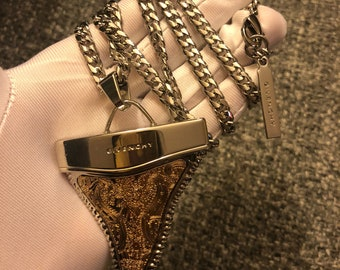 Classic Givenchy jumbo silver gold lace sharktooth necklace