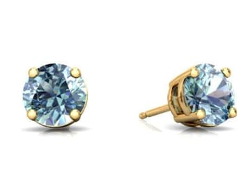 14Kt Yellow Gold Aquamarine Round Stud Earrings