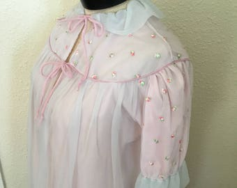 1960's Vintage Pink with Blue Net Overlay Peignoir
