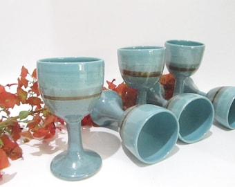 Wine Cup, Wine Goblet, Ceramic Wine Cup, Pottery Goblet, Turquoise and Teal Handmade Ceramics