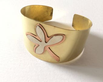 Adjustable copper Cuff Bracelet, optional pattern 1 or 2 flowers