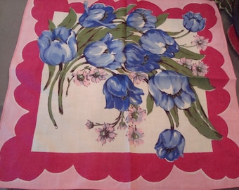 Vintage Large Bold Pink Flowers & Purple Tulips Hanky - Excellent Condition!!