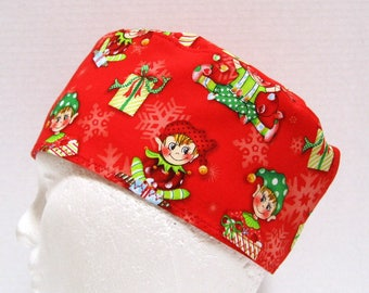 Christmas Mens Scrub Hat or Surgical Cap, Elves With Packages
