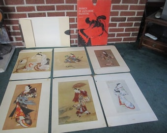 "Vintage Mid Century Set of 6 Prints in Portfolio ""Women in Japanese Painting"""