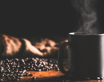 Steaming Brew - Artistic Photography - Rustic Home Decor - Coffee Photo Print