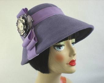 Women's 1940s style Felt Cloche Hat in Lavender Downton Abbey Winter 1920s