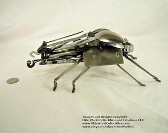Steam Spoonback Beetle - Welded Steel Industrial Sculpture