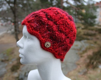 Knit beanie hat handknit hat in red, perfect gift for her, holiday gift