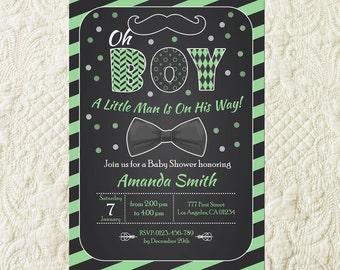Mustache Baby Shower Invitation, Little Man Baby Shower Invitation, Bowtie Baby Shower, Little Man Green Invite, Mustache Bash Invitation