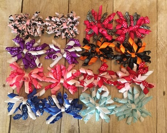 Lot of 8 Pairs Sets of Korker Bows on Hair Clips