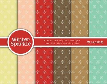 Winter Digital Paper, Digital Paper Pack, Christmas Paper, Instant Download, Digital Scrapbooking, Commercial Use, Scrapbook Pa