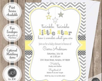 Yellow and Gray Twinkle Twinkle Little Star baby shower invitation, gender neutral baby shower invitation, star invitation, yellow Star-Y