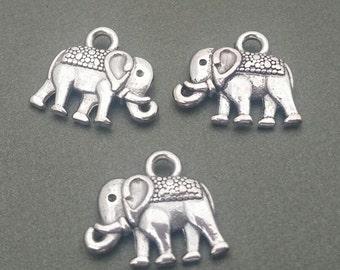 Elephant Charms - Qty. 10 - Antique Silver Charms - Animal Charms - Tiny Elephant Charm