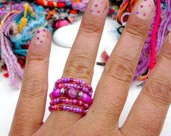 Pink Bubbles ღ ring Unique Bohemian precious purple pink glass gems Tikaille