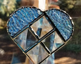Light Blue Beveled Heart Suncatcher