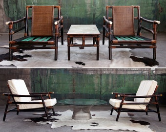 SET PAIR 2 Chairs + Coffee Table Mid Century Modern Arm Chair Armchair Bamboo and Rattan John Wisner Designed for Ficks Reed SIGNED mcm