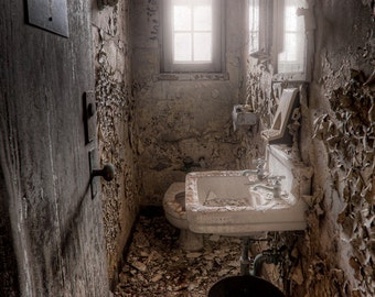 Old Abandoned Ladies Room, Old Toilet Bathroom in Asylum, Urban Exploration, HDR, Color Photograph of a ladies bathroom in an old building