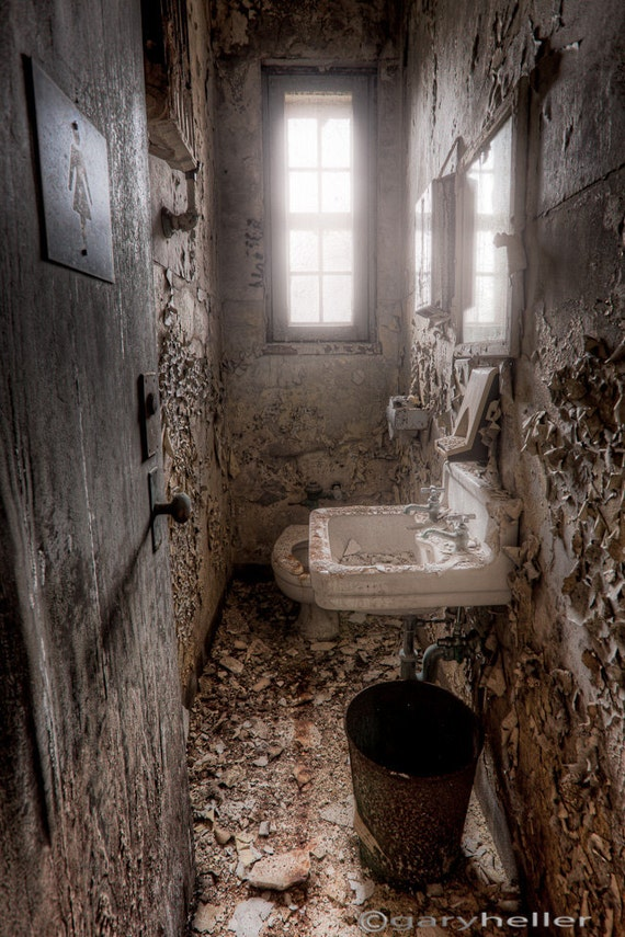 Old Abandoned Ladies Room Old Toilet Bathroom In Asylum