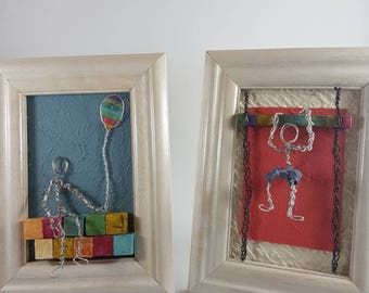 Wire art collage, two wire art  boys ,Framed art,Wire art,Fantasy, wall art, room decoration, baby shower gift