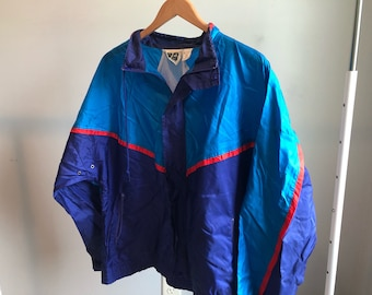 90s Electric Blue and Red Colorblock Windbreaker