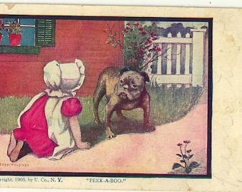 Vintage english bulldog postcard Peek a Boo image bonnet child Dorothy Dixon 1905
