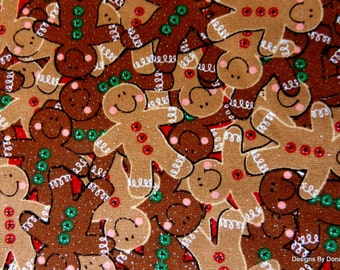 "One Yard Cut of Quilt Fabric,""Holiday Inspirations"", Christmas Gingerbreadmen/Red/Green Buttons/Glitter, Quilting-Sewing-Craft Supplies"