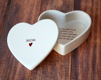 SHIPS FAST - Mother of the Bride Gift - Heart Box - Mom - Keepsake Box - With Gift Box
