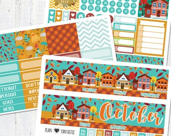 October Monthly Sticker Kit - Monthly Calendar Planner Stickers for use with ERIN CONDREN LIFEPLANNER™ or Recollections Planner