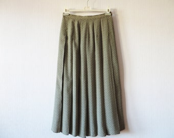 Khaki Beige Pleated Skirt Floral Ditsy Print Maxi High Waisted Summer Skirt Made in UK Large Size