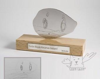 Fait à la main unique personnalisé argent figuré table sculpture, cadeaux de l'art de votre enfant, cadeau unique