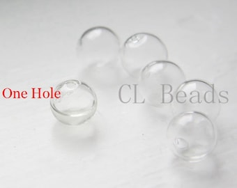10pcs Hand Blown Hollow Glass Beads- Round Clear with One Hole on the Top 13mm-14mm (28H3)