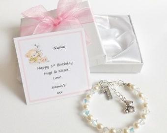Babies 1st Birthday Beaded & AB Crystal Keepsake Bracelet, Gift Boxed with Personalised Gift Card