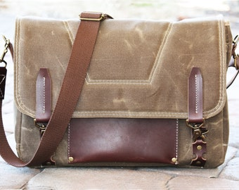 Waxed Canvas Messenger bag - laptop bag handmade by Alex M Lynch - 010096