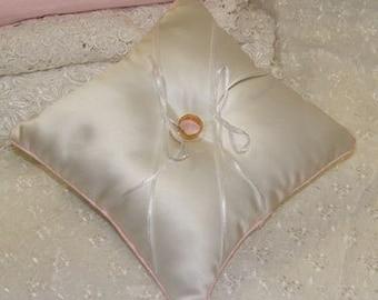 Wedding ring cushion in duchess satin