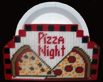 PIZZA NIGHT Paper Plate Holder - Practical and Unique - Needlepoint on Plastic Canvas - Handmade & Plastic pizza plates | Etsy
