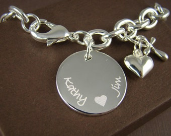 Custom Engraved Bracelet for Her - Personalized Anniversary Gift for Her - 925 Sterling Silver Jewelry