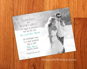 Just Married Wedding Announcements - Double Sided - Any Colors - Photo on both sides - Pefect for Destination Wedding or Elopement
