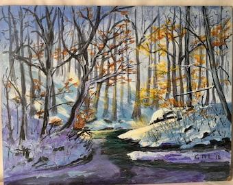 Original Unframed Acrylic Painting on Masonite by C Tull  Walk in Winter Woods