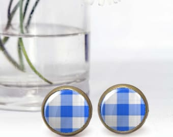 Blue stud earrings, Round Cabochon earrings, Tiny earrings, Retro style jewelry, Affordable Gift for her, Photo earrings,  5035-4
