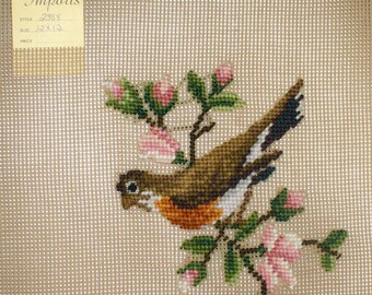 Robin RedBreast Wall Art, American Robin Preworked Needlepoint Canvas Bench Cover,  DIY Bird Pillow, Vintage New Old Stock, 12 x 12 Inches