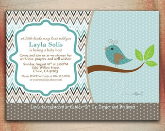 Little Birdie Baby Shower Invitation, Chevron Birdie Baby Shower Invite, Birdie Chevron Baby Shower Invitation -Digital File You Print