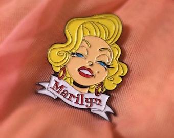 "Silver Screen Starlets- 1.5"" Marilyn Monroe retro enamel pin"