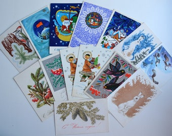 Happy new year cards!, USSR, set of 14 pieces